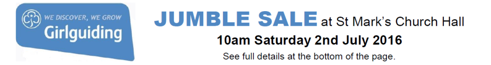 Guide Jumble Sale 2nd July 2016