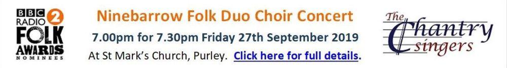 Website Banner - Ninebarrow Choir Concert - 27.09.19