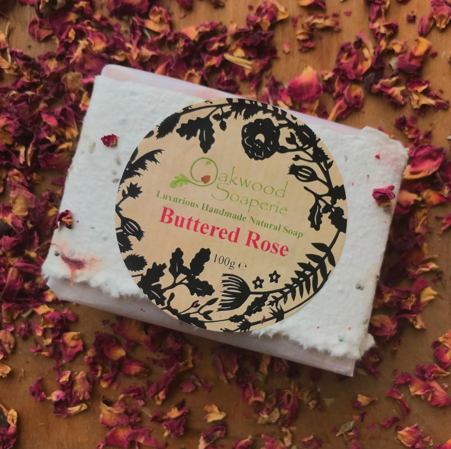 Buttered Rose soap in wildflower paper