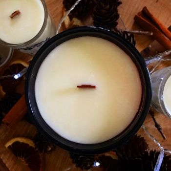Hand poured essential oil and plant wax candles in Amber lidded jars with wooden wicks. WERE £25, NOW £20