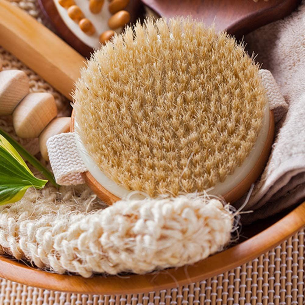 Large round Sisal and wood Body Brush
