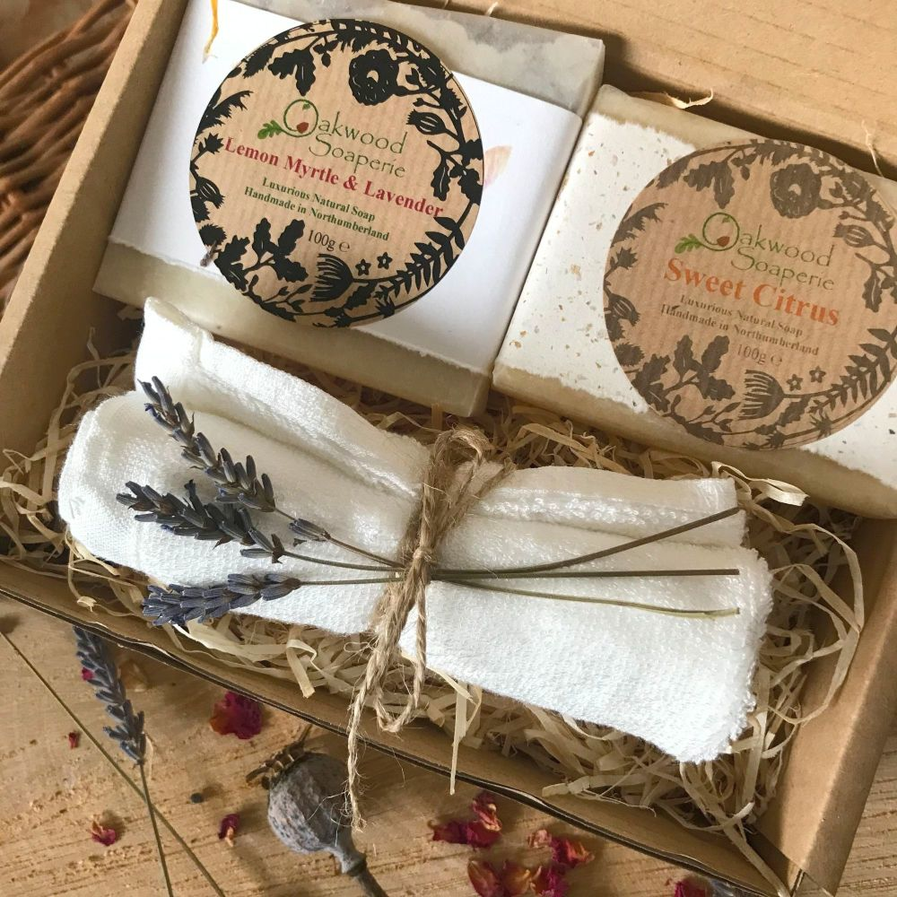 Soap Gift set with 2 soap bars and a bamboo washcloth