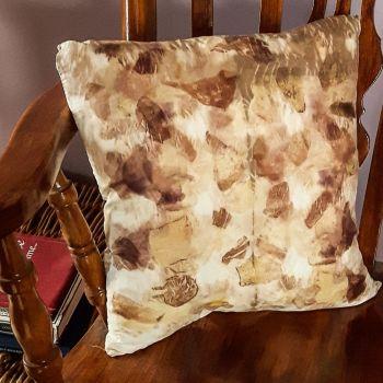 Brown Onion and oak tannin print silk cushion 40cm x 40cm
