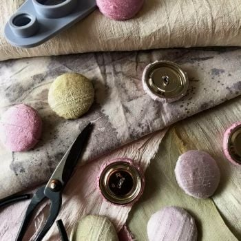 Hand dyed covered silk button set of 4
