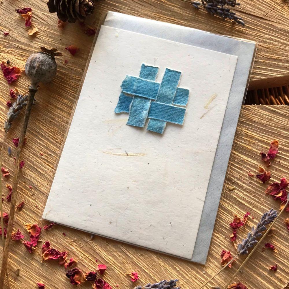 Handmade  eco printed and cyanotype greetings cards Set of 5 in  Kraft card