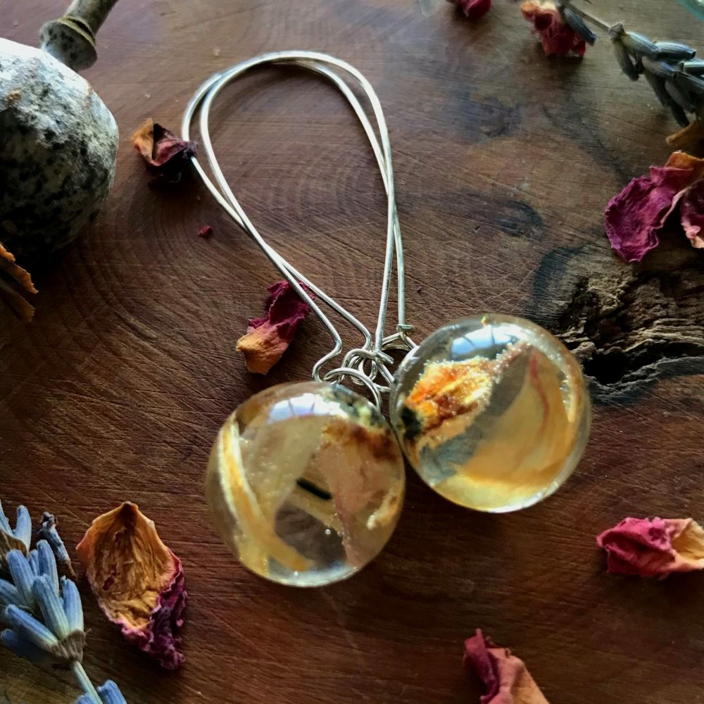 Hyacinth flower drop earrings.