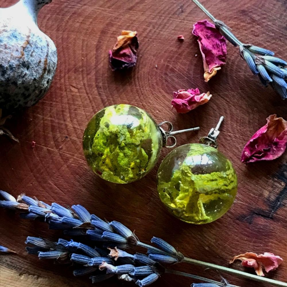 Lime green Lichen studs with sterling silver posts