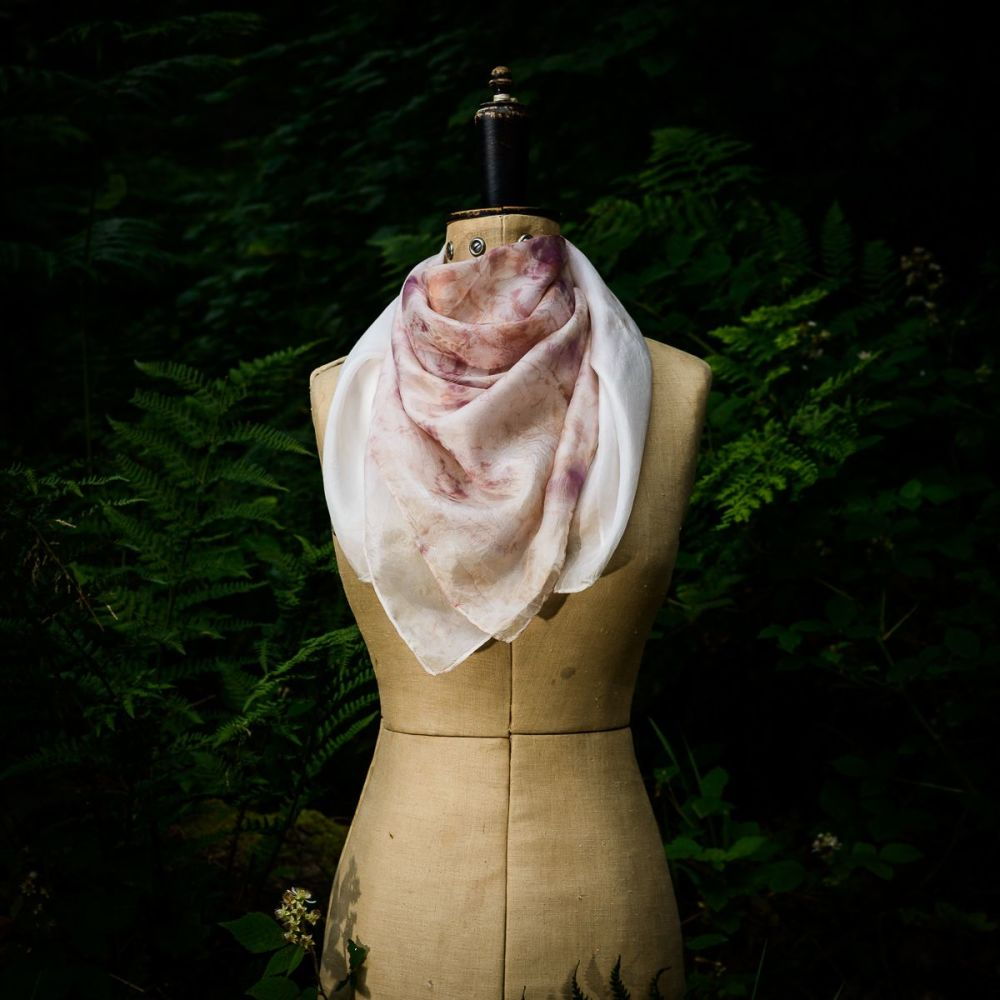 Eco printed silk scarf printed with Red Onion skins 90cm x 90cm