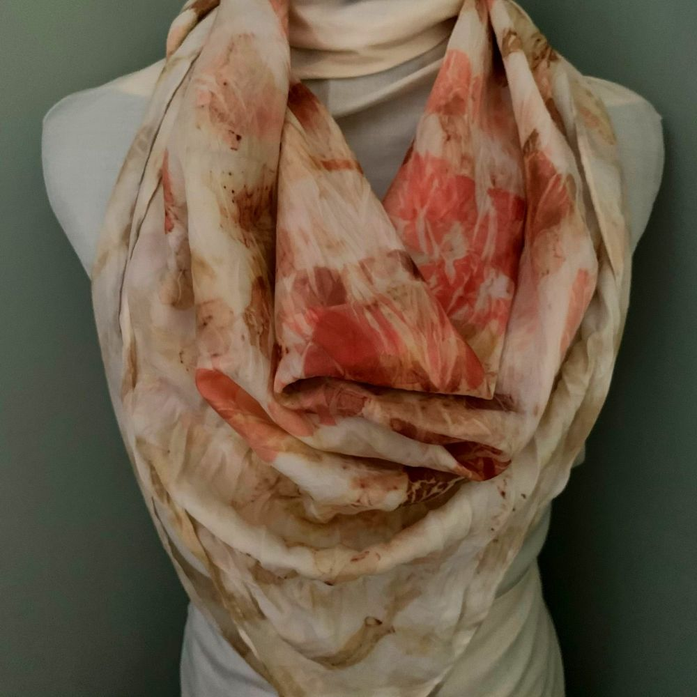 Eco printed silk scarf printed with eucalyptus leaves and red onion skins 9