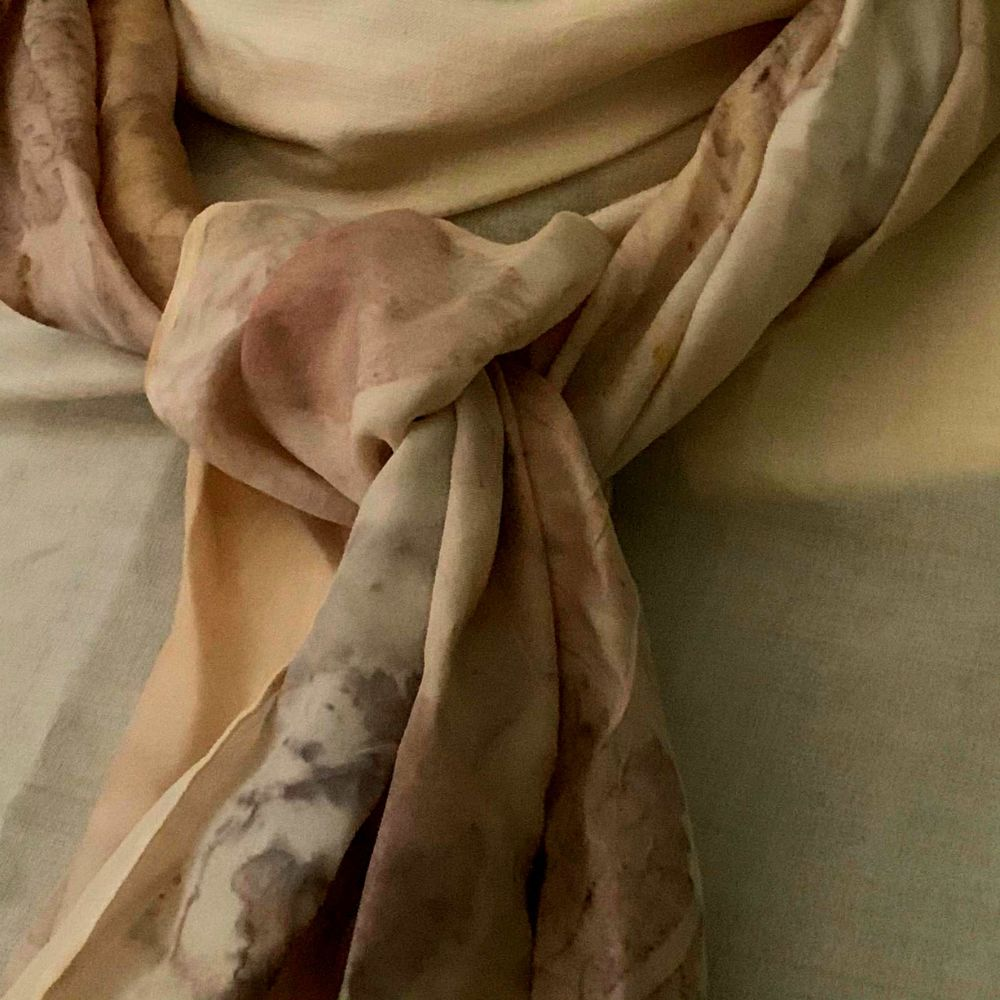 Eco printed silk scarf printed with wild Blackberry leaves 30cm x 120cm