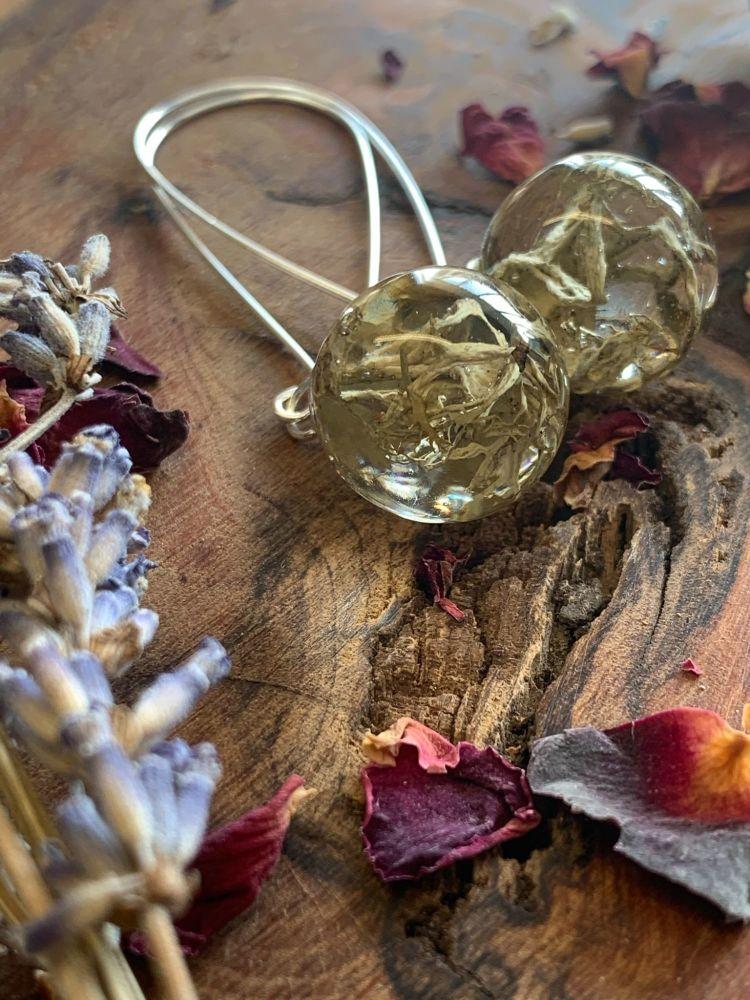 Lichen drop earrings.