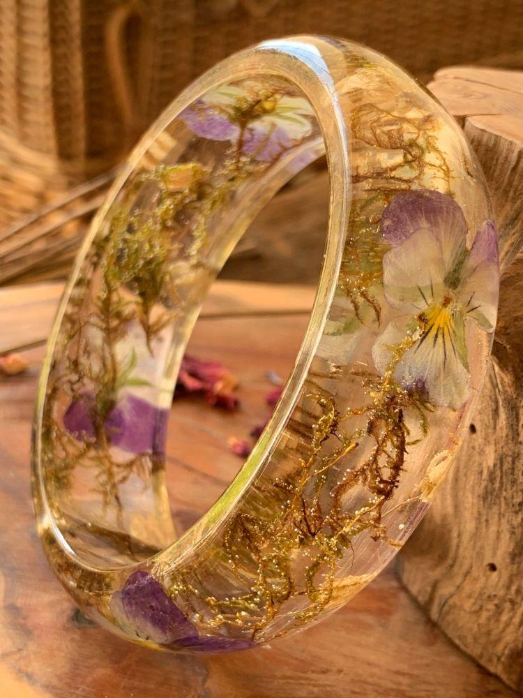 Wide Viola and woodland moss bangle