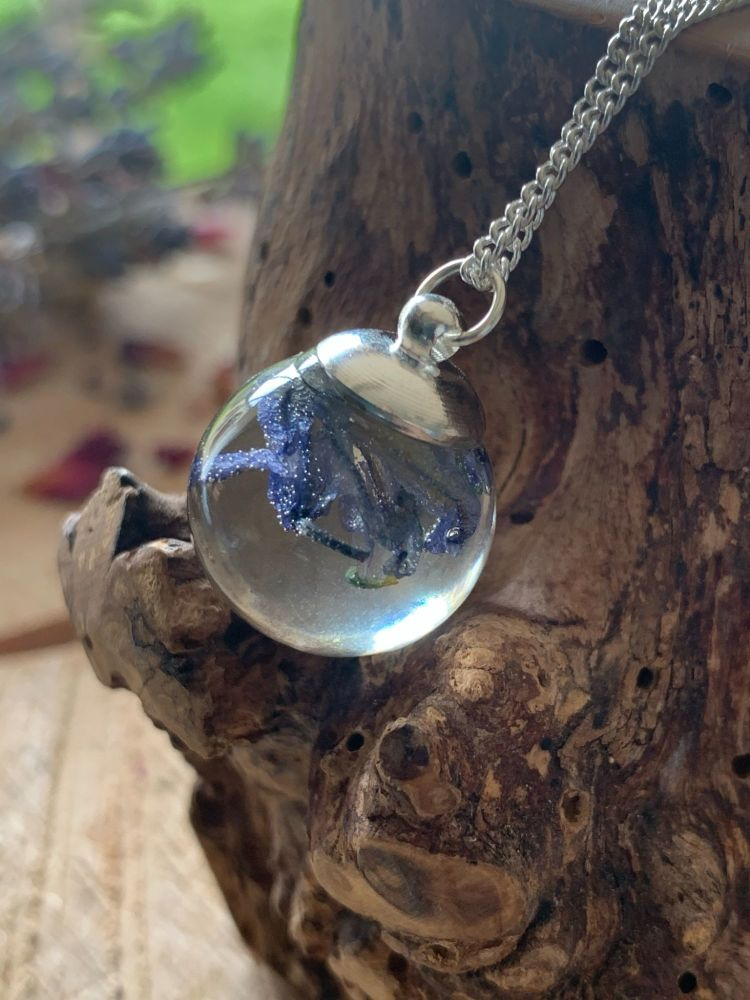 Bluebell flower Drop pendant on a 18 inch sterling silver chain.