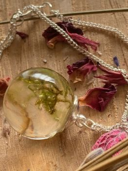 Forest Moss Drop pendant on a 18 inch silver chain.