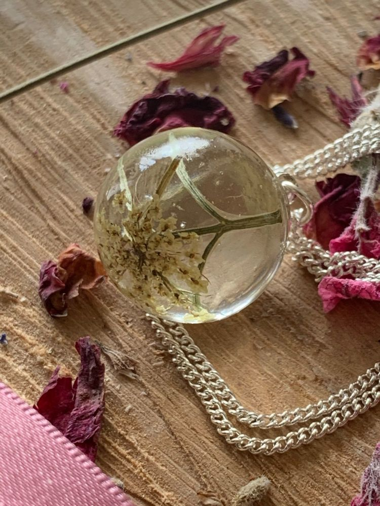 Queen Anne's Lace & Nigella frond Drop pendant on a 18 inch sterling silver