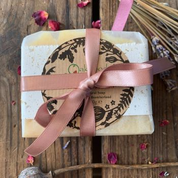 Soap + Wooden soap dish tied with ribbon