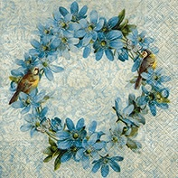 Vintage Blue Bird & Flower Wreath Napkin