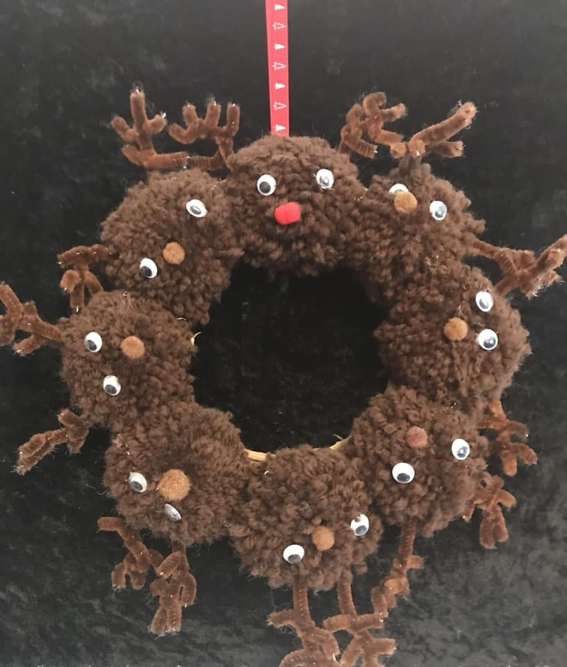 Reindeer Pom Pom Wreath 6th November7pm