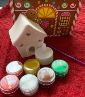 Paint your own Christmas Tealight  - Gingerbread House