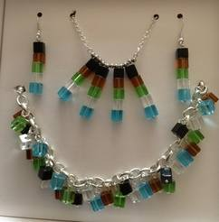 Square Glass Beaded Jewellery Set