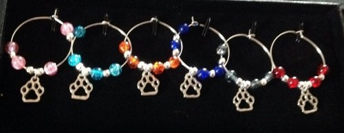 paw Print  Wine Glass Charms