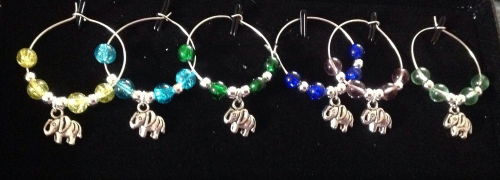 elephant wine Glass Charms