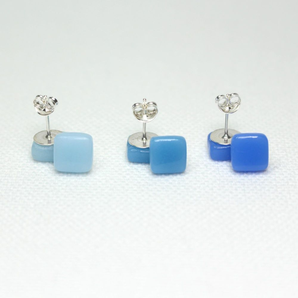 Blue Tones Square Glass Sterling Silver Earrings Set
