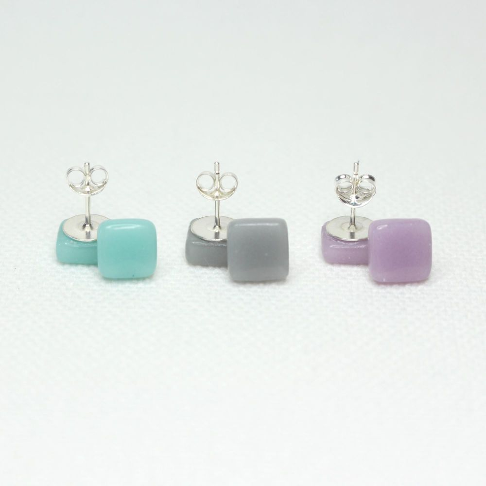Muted Tones Square Glass Sterling Silver Earrings Set