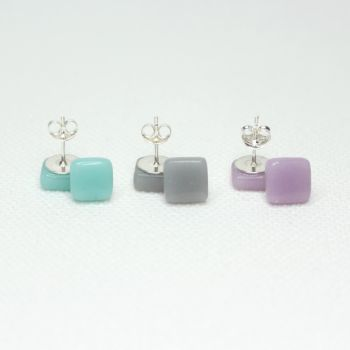 Muted Tones Square Glass Sterling Silver Stud Earrings Set
