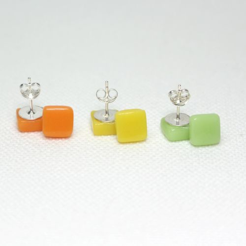 Bright Tones Square Glass Sterling Silver Stud Earrings Set