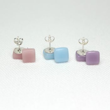 Pastel Tones Square Glass Sterling Silver Stud Earrings Set