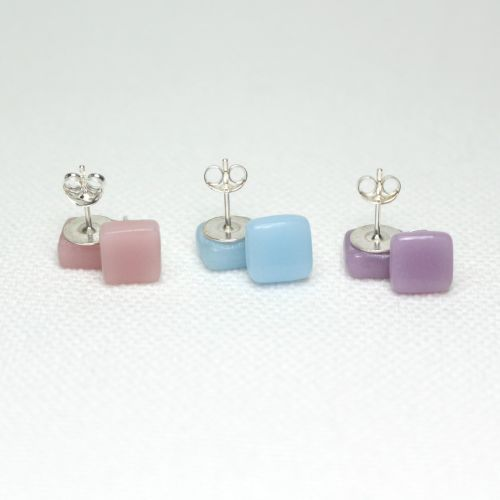 Pastel Tones Square Glass Sterling Silver Earrings Set