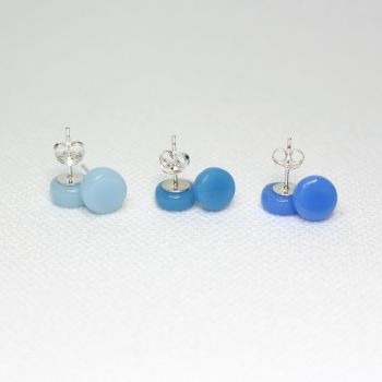 Blue Tones Round Glass Sterling Silver Stud Earrings Set