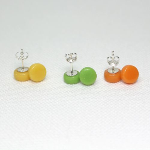 Bright Tones Round Glass Stud Sterling Silver Stud Earrings Set