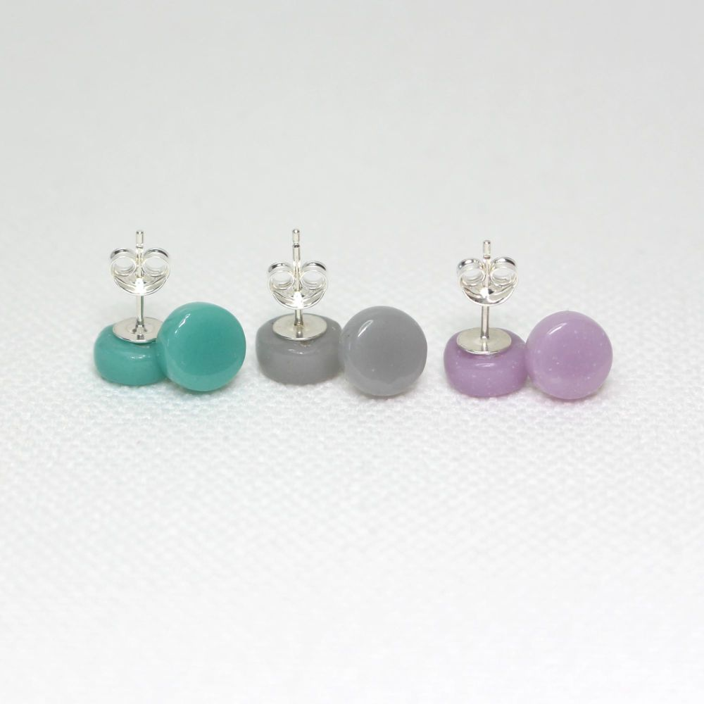 Muted Tones Round Glass Sterling Silver Stud Earrings Set