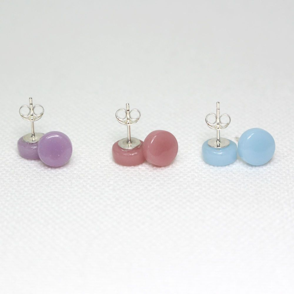 Pastel Tones Round Glass Sterling Silver Stud Earrings Set
