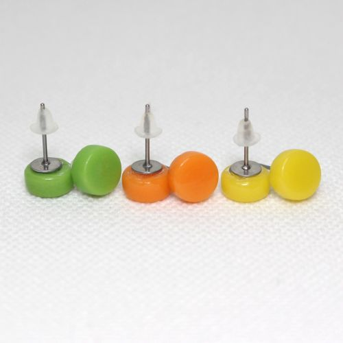 Bright Tones Round Glass Surgical Steel Stud Earrings Set