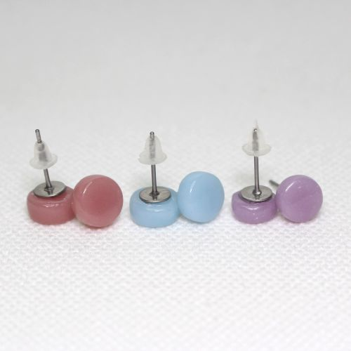Pastel Tones Round Glass Surgical Steel Stud Earrings Set