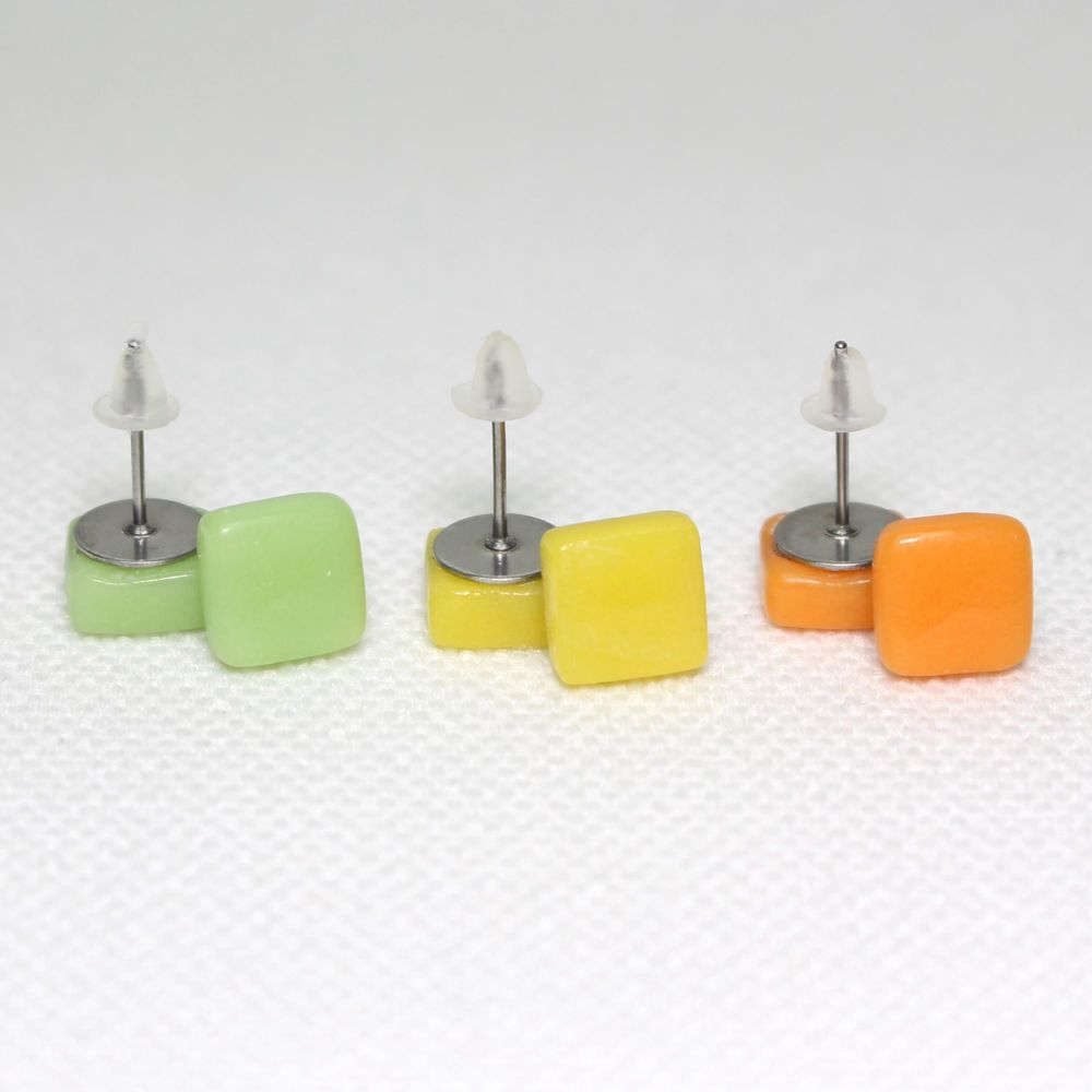 Bright Tones Square Glass Surgical Steel Stud Earrings Set