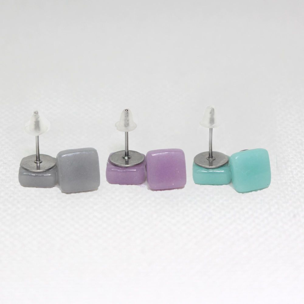 Muted Tones Square Glass Surgical Steel Stud Earrings Set