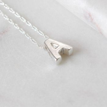 Sterling Silver Initial A Pendant Necklace • Letter A Necklace