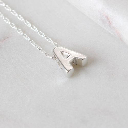 Sterling Silver A Initial Pendant Necklace • Letter A Necklace