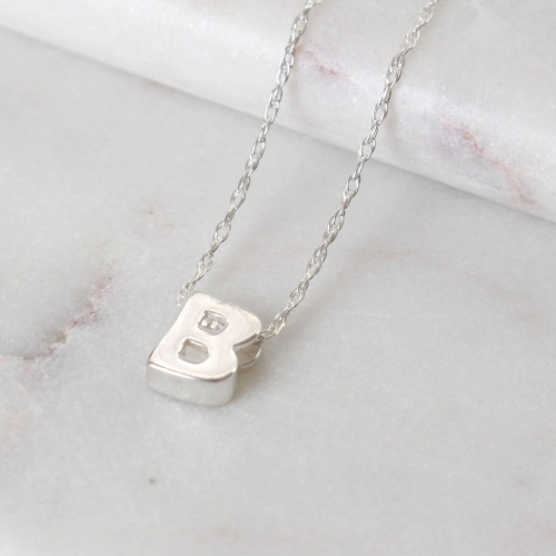 Sterling Silver Initial B Pendant Necklace • Letter Necklace