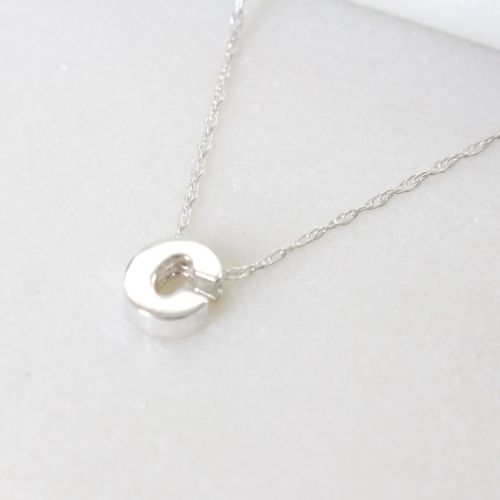 Sterling Silver Initial C Pendant Necklace • Letter B Necklace