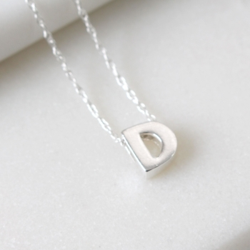 Sterling Silver Initial D Pendant Necklace | Letter D Necklace