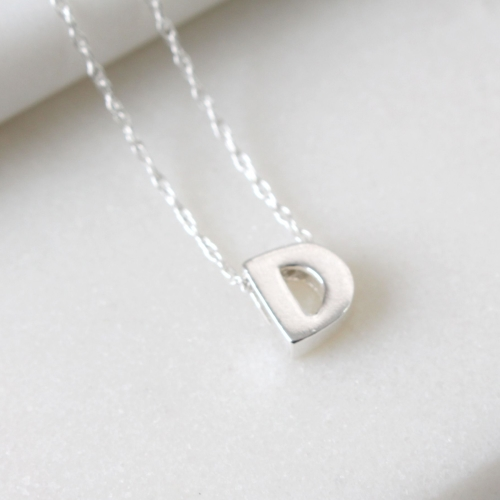 Sterling Silver Initial D Pendant Necklace • Letter D Necklace