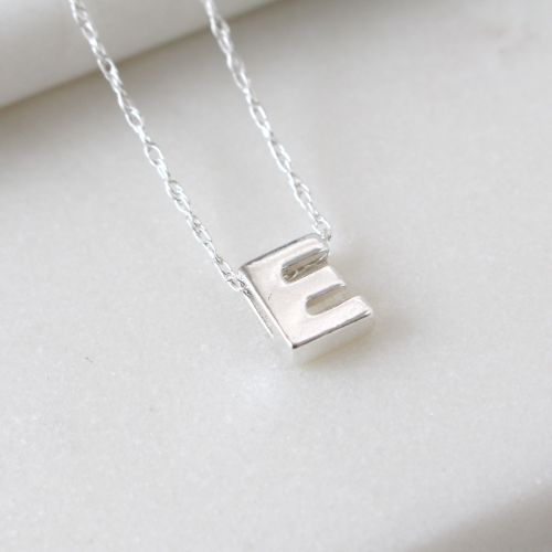 Sterling Silver Initial E Pendant Necklace • Letter E Necklace