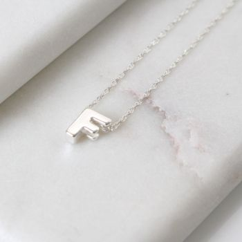 Sterling Silver Initial F Pendant Necklace • Letter F Necklace
