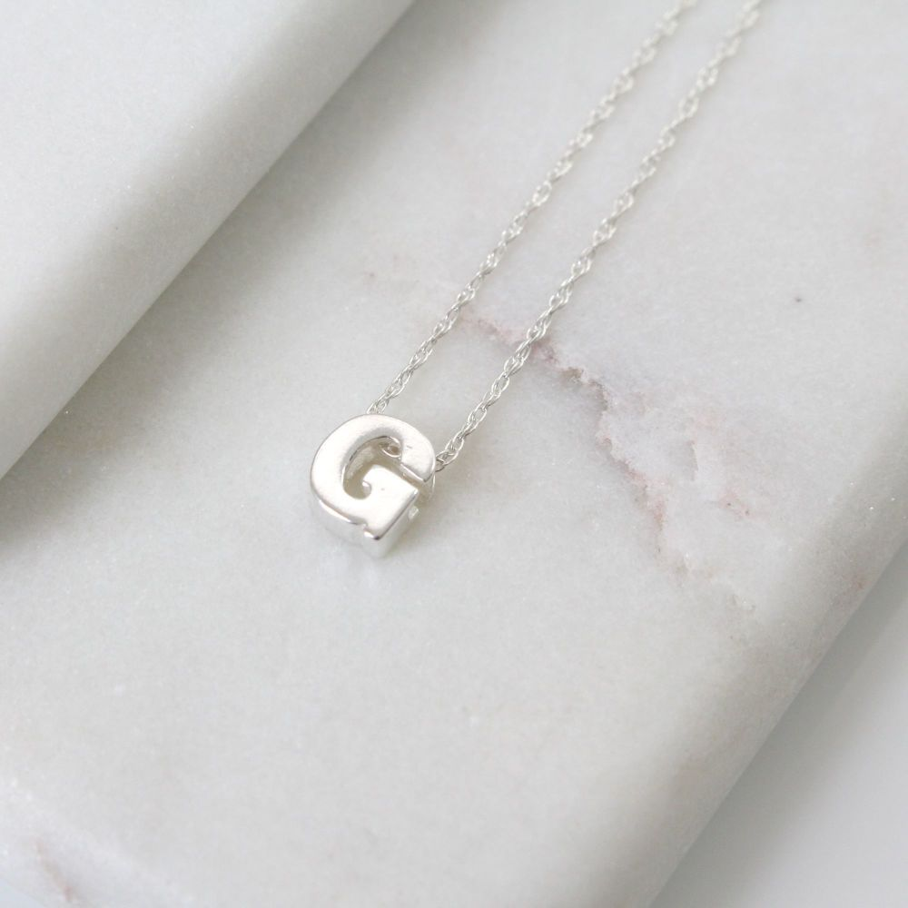 Sterling Silver Initial G Pendant Necklace • Letter F Necklace