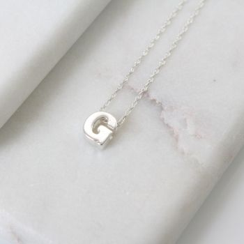 Sterling Silver Initial G Pendant Necklace • Letter G Necklace